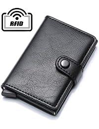 Bifold Wallet Men RFID Blocking Genuine Leather Credit Card Holder Wallet/Large Zip Coin Pocket Purse