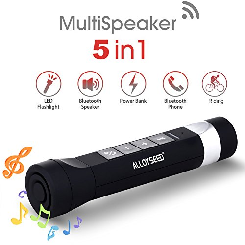 alloyseed 5 in 1 portatile torcia a LED con altoparlante Bluetooth USB Charger Power Bank 2600 mAh torcia bicicletta altoparlanti bluetooth vivavoce microfono per attività all' aperto