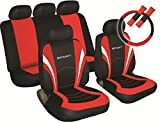 XtremeAuto® Sports Style Car Seat Covers Red and Black Complete with Sticker