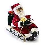 Weihnachtsmann mit Schlitten singend Santa Claus animierter Nikolaus Weihnachten Deko-Figur 33x27 cm Batterie Weihnachtsdeko Innenraum Fensterdeko