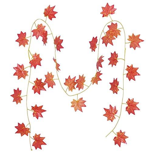 LUOEM Thanksgiving Ernte Ahorn Künstlicher Ahorn Blätter Dekoration für Windows Wand Stairway Home Party Decor (Rot) -