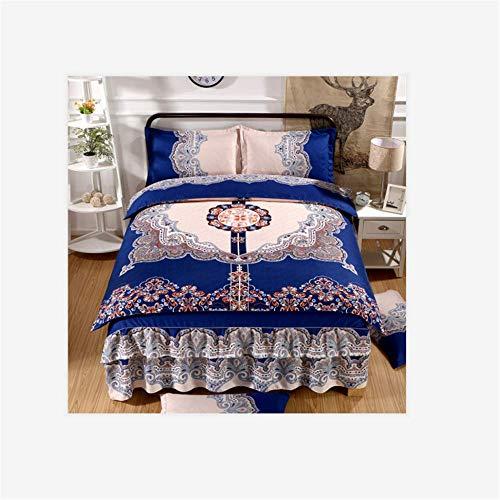 BEIHAO 4-teiliges Luxusbettwäscheset Prinzessin Wind Bett Rock