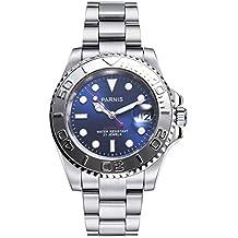 PARNIS 2170alta calidad acero inoxidable reloj automático con ambos lados Bisel Giratorio