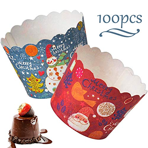 WENTS Mini Muffin Förmchen 100 Stück Weihnachten Kuchen Papier Tasse Mini Papier Kuchen Cupcake Pudding Muffin Cups Liner für Weihnachten Hochzeit Geburtstag Party Dekoration(Blau/Rot)
