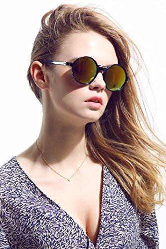 Diamond Candy Lunettes de soleil Pour Femmes Anti-UV Style Nerd Wayfarer Rétro Vintage Jaune