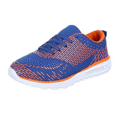 Sapatas Dos Miúdos, Qfp-001, Calçados Casuais Das Sapatilhas Sapatos Desportivos Sapatilha Laranja Azul
