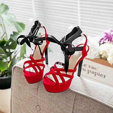 Talloni delle donne Primavera Estate Autunno Club similpelle per ufficio e del partito Carriera & abito da sera a spillo Lace-up Heel Nero Blu Rosso Red