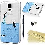 Funda para Samsung Galaxy S5 i9600,Silicona Gel TPU Transparente Ultra Slim - Mavis's Diary Carcasa Case Bumper Shock-Absorción y Anti-Arañazos - pingüino