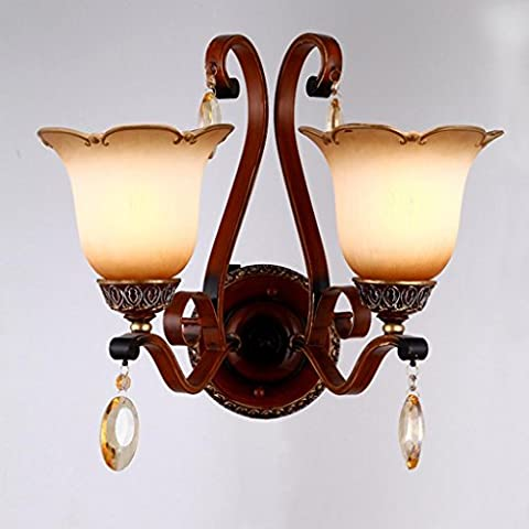 European wall lamp bedroom outdoor hotel bedside glass double wall lamp