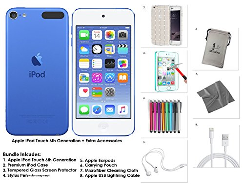 Apple iPod Touch 128GB - Blue   Extra Accessories, 6th Generation *NEW RELEASE July 2015*
