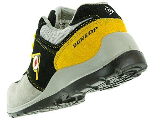 Dunlop Flying Arrow Sicherheitsschuh Arbeitsschuh S3 mit Zehenkappe, Sportlich & Atmungsaktiv, Versch. Farben +Ace Schubeutel Gratis Grau/Schwarz/Gelb