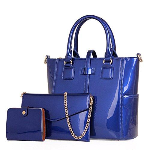 Damen Lackleder Glänzend Spiegel-Unterpaket Dreiteilig Handtasche Schulter-Diagonal-Paket Kartenpaket Dreidimensional Vier Farboptionen Blue