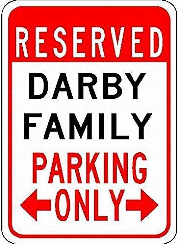 Darby Metall (WallAdorn Darby Family Parking Customized Last Name Parking Eisen Poster Malerei Blechschild Vintage Wall Decor für Cafe Bar Pub Home)