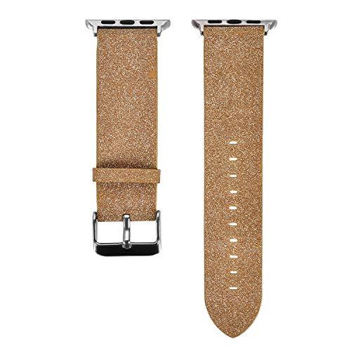 Bling Bracelet pour Apple Watch 42mm/44mm Femme Filles, MeganStore iWatch Paillettes Bracelet de Remplacement en Cuir avec Acier Inoxydable Adaptateur pour Apple Watch Serie 4/3/2/1, Or