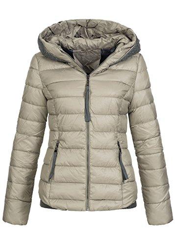 Violet Fashion Damen Winterjacke gesteppt, Strickbund Einsatz und Strick-Kapuze, warm gefüttert, beige Schwarz