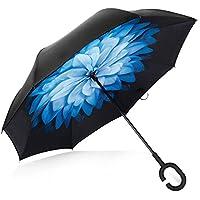 Deerbird® Coche Paraguas invertido Capa doble Anti-ultravioleta Con el tipo C Mango de goma Paraguas a prueba de viento, Todo tiempo Independiente Paraguas de revés-Flores azules