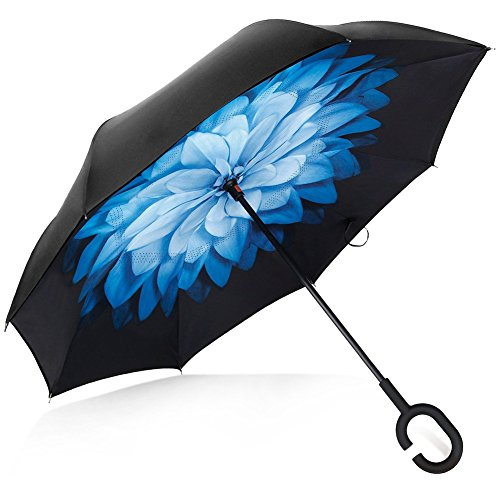 Deerbird® car inverted umbrella double layer uv protection windproof umbrella with c-type rubber handle, self-standing hand-free reverse umbrellas for all weather - blue flower