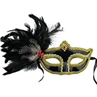 Party maschere Masquerade maschere Halloween maschera piume colorate fashion uomini donne sexy maschera mezzo volto maschera Natale oro - Piuma Maschera Di Halloween Costume
