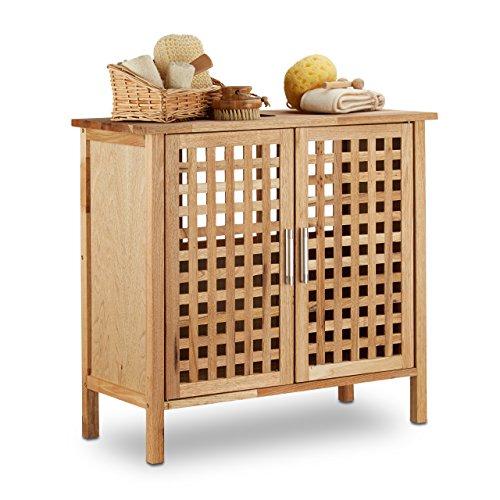 Relaxdays mobile sottolavabo in legno noce robusto armadietto bagno hxlxp: 61 x 66 x 29 cm ca. marrone chiaro