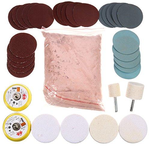 34 Glas-Polierset 230 g Ceriumoxid Pulver mit Polierpad und Schleifpapier -