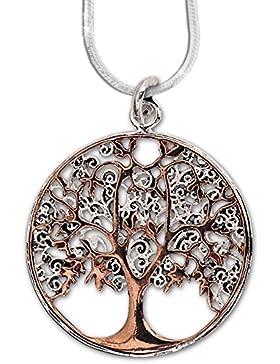 Anhänger keltischer Lebensbaum Baum des Lebens Bronze – Heilung - mit 1,2mm Schlangenkette 45 cm Halskette aus...