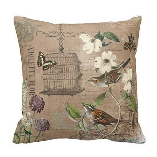 CELYCASY Vintage Französische Vögel und Garten Dekokissen Kissenbezug Sofa Schlafzimmer Lendenwirbelkissen Kissenbezug 45,7 x 45,7 cm (Französische Dekokissen Vintage)