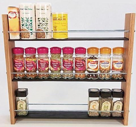 Oak Slate Design.. Spice / Herb Rack ..3 Tier, 27 Jar - Modern Contemporary Style - Deep Shelves for Larger Spice Jars, Boxes, Kilner