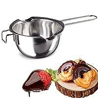 وعاء مزدوج من الفولاذ المقاوم للصدأ لإذابة الشوكولاتة والزبدة والجبنة والشمع والشمع مع مع فوهات مزدوجة بسعة 400 مل