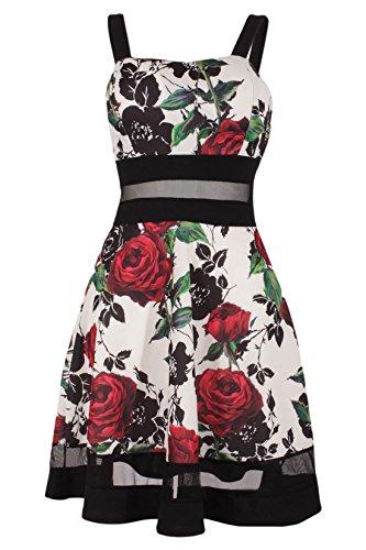 Moda Italy Sommerkleid Knielang Trägerkleid Abendkleid Cocktailkleid Freizeitkleid Partykleid A-Form Bunt Blumenmuster Schwarz-Dunkelrot-Creme