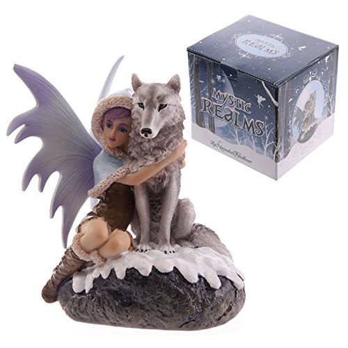puckator-mystic-realms-fyp125-snow-fairy-with-wolf-companion-figurine-15-x-14-x-17-cm