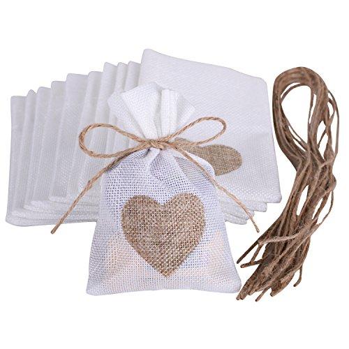 Wolfteeth 10 pz 14 x 10 cm Sacchetti Regalo Caramella portaconfetti Bustine per Battesimo Matrimonio Confetti Gioielli - Cuore
