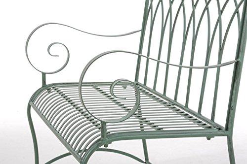 CLP Gartenbank DIVAN im Landhausstil, aus lackiertem Eisen, 106 x 51 cm – aus bis zu 6 Farben wählen Antik Grün - 7