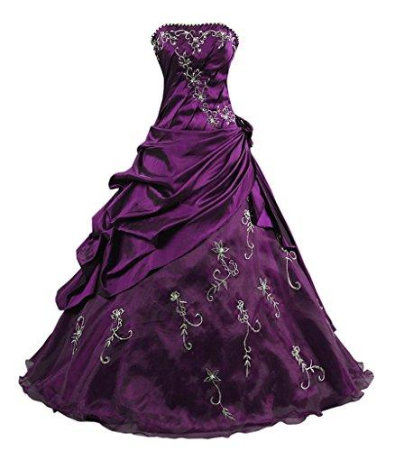 Kmformals Damen Ballkleid trägerlosen Prom Kleider Abendkleidung Größe 58 Lila