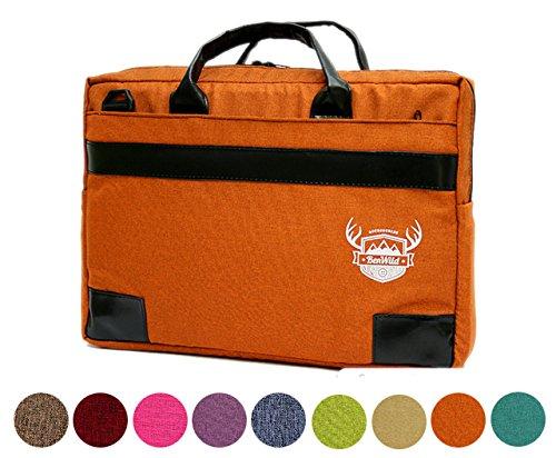 BAMBINIWELT Laptop Notebook UNI MELIERT **11 FARBEN** Aktentasche Hülle Case 15,6 - 17,0 - 17,3 ZOLL Laptoptasche NEU 41x31x6cm oder 38x28x6cm (17-3 ZOLL, Orange)