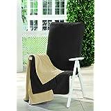 'Rizo–Colchón Asiento de Silla de jardín muebles de jardín gris oscuro gris con respaldo alto algodón Muebles de Jardín accesorios Tumbona