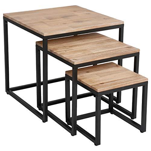 Lot de 3 Tables Basses gigognes de Salon en Bois Effet Blanchi et métal - Style Industriel, Vintage et Atelier