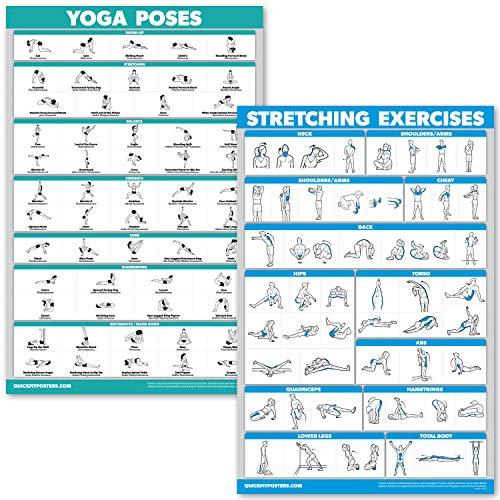 """QuickFit Yoga-Posen und Stretch-Übungsposter-Set - laminiertes 2-Diagramm-Set - Yoga-Positionen & Stretch-Workouts, Laminated, 18"""" x 27"""""""