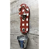 Red and white chequered flip flop design bottle opener
