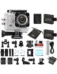 Actioncam WiMiUS Action Cam 4k Kamera Action Full HD Wifi Actionkamera 16MP Sport Kamera mit 2 Akkus 2.0 Zoll Helmkamera Wasserdicht 40M (Q1)