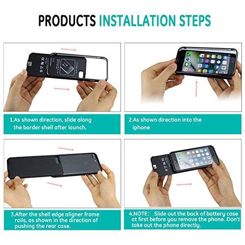 Yontex iPhone 7Plus Coque batterie antidérapant étui Ultra fin Extended Coque batterie chargeur portable pour iPhone 7Plus uniquement avec capacité de 4000mAh Black / Rosegold