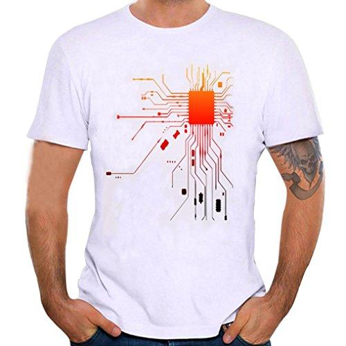 ❤️Tops Blouse Homme T-Shirt, Amlaiworld Hommes Été Tee Shirt d'impression T-Shirt Manches Courtes Blouse de Mode (XL, Blanc)