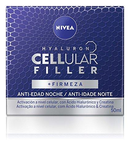 NIVEA Hyaluron Cellular Filler, crema facial de noche, crema antiarrugas con ácido hialurónico y creatina para combatir los signos de la edad, crema reafirmante