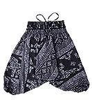 Lofbaz Kinder Mädchen Kinderhose Hose Haremshose und Overall Aladinhose Baby Sommer Jumpsuit - Elephant 8 Schwarz - 6-7Y
