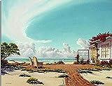 FSKJSZYH Rahmenlose DIY Seascape Landschaft Holzhaus Malen Nach Zahlen Garten Himmel Wolken 40X50Cm