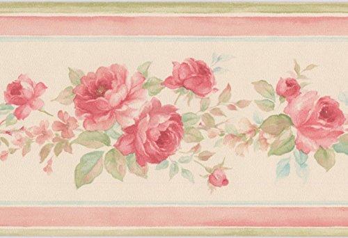 Red rose in bouquet floreale bianco crema bordo per carta da parati design retrò, roll 15'x 8,9cm