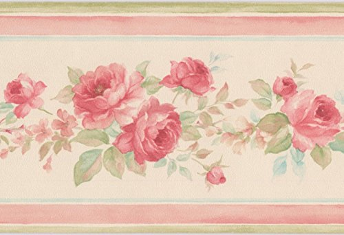 Red rose in bouquet floreale bianco crema bordo per carta da parati design retrò, roll 15\'x 8,9cm