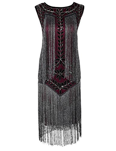 Kayamiya Damen Great Gatsby Kleid 1920er Paillette Quaste Charleston Kleider XL (Gatsby Party Kleid)