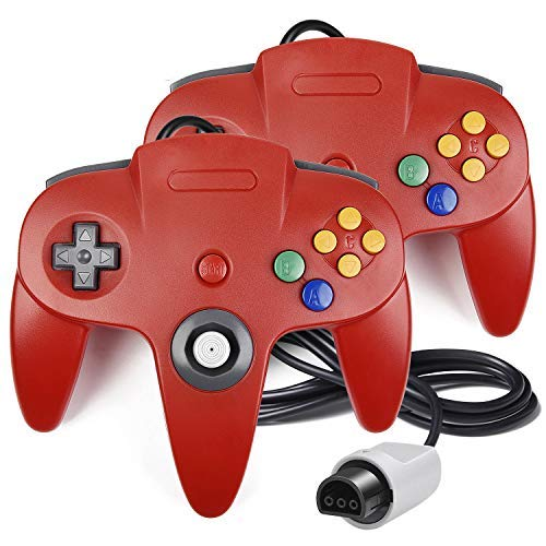iNNEXT 2Stück N64Controller, Classic Draht N6464-Bit Gamepad Joystick für Ultra 64Video Game Konsole N64System Mario Kart (Rot) (64 Für 64 Mario Nintendo)