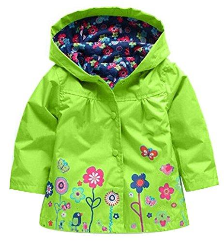 QZBAOSHU 2-6 Anni Bambino Giacca Impermeabile con Cappuccio Outwear Pioggia Cappotto delle Bambine e Ragazze (110: misura per altezza 100-105 cm, Verde)
