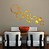 BikriKendra 13 GolDen Rings & Dots - 3D Acrylic Mirror Wall Stickers for home & Office - Factory Outlet - Premium Quality
